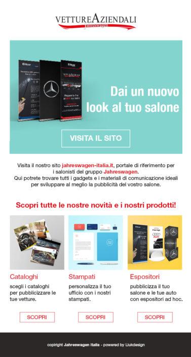 Creazione newsletter per promuovere le vendite sul portale Jahreswagen